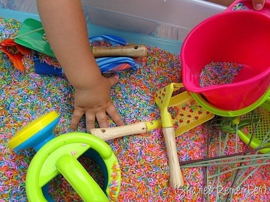 Toddler Crafts & Activities Roundup - rainbow sensory bin