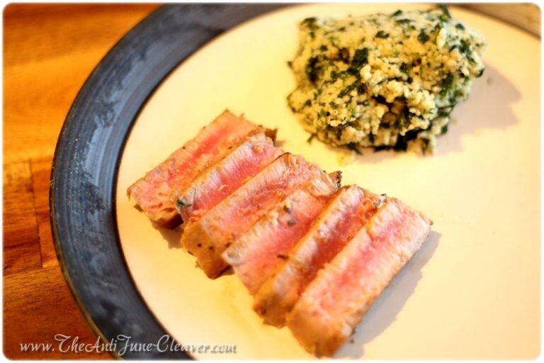 Asian Tuna Steaks and Spinach Parmesan Couscous