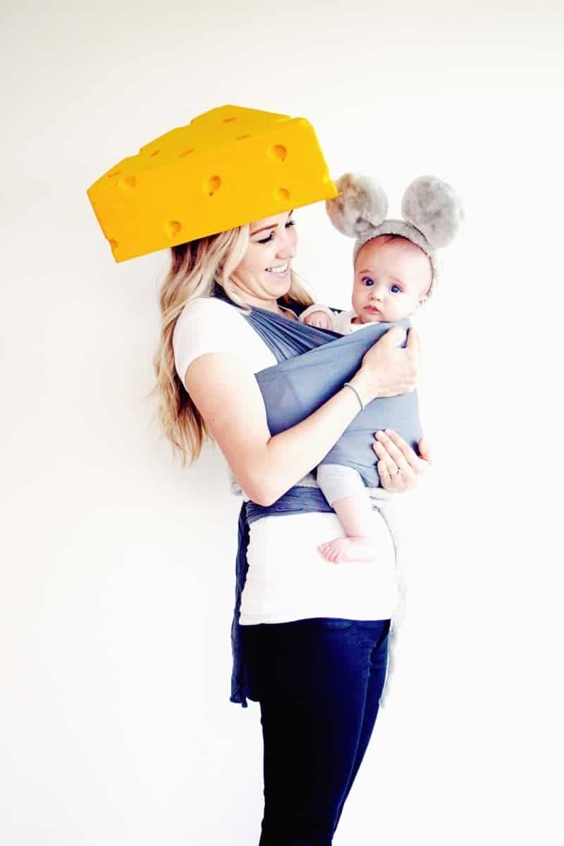 Creative Babywearing Halloween Costumes - Mouse & Cheese