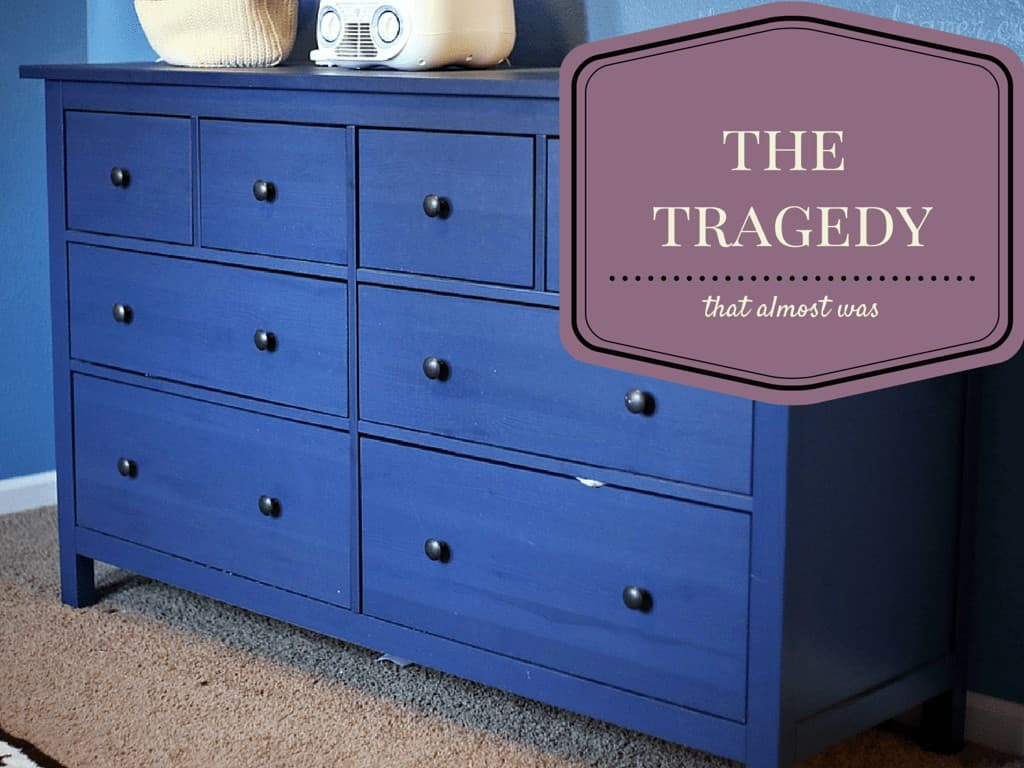 The tragedy that almost was. PLEASE strap your dressers to the wall