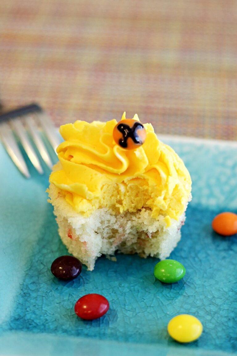 Rainbow Tie Dye Skittles Cupcakes