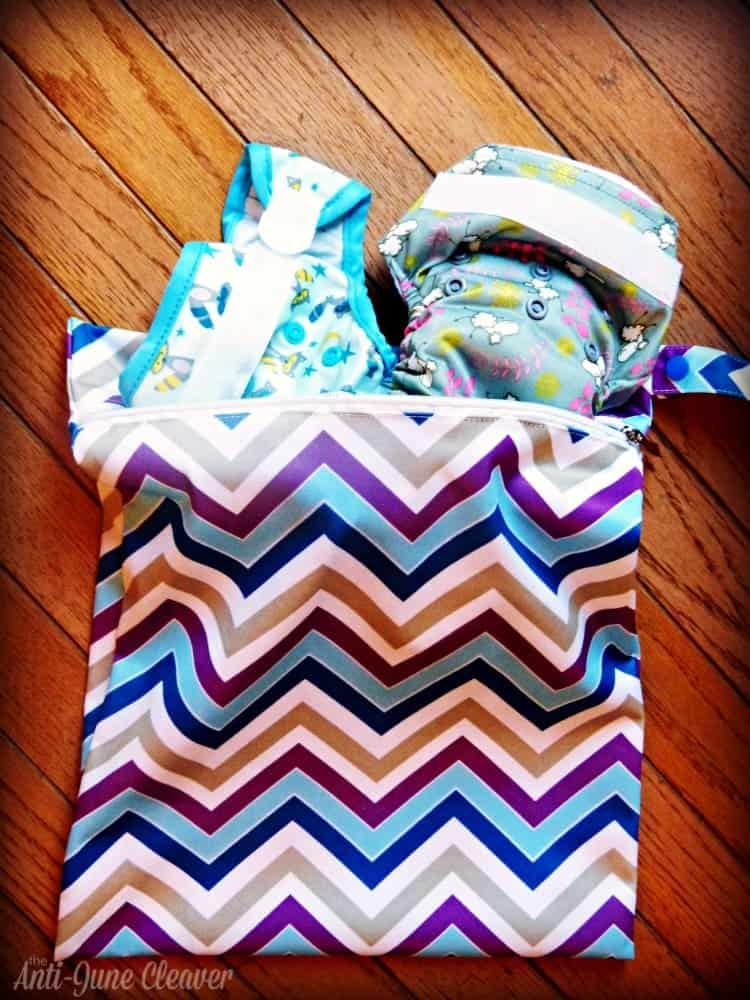 Sweet Pea newborn cloth diaper review - wet bag