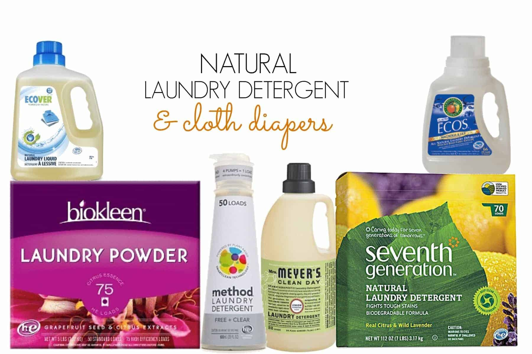 Natural laundry detergent and cloth diapers