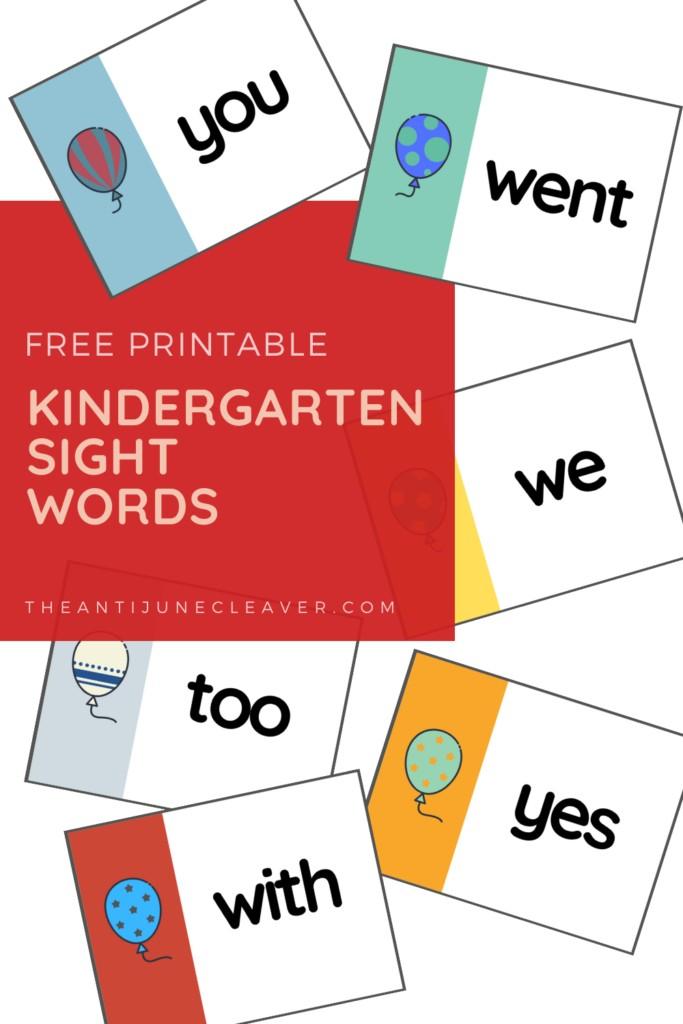 Kindergarten Sight Words free printable