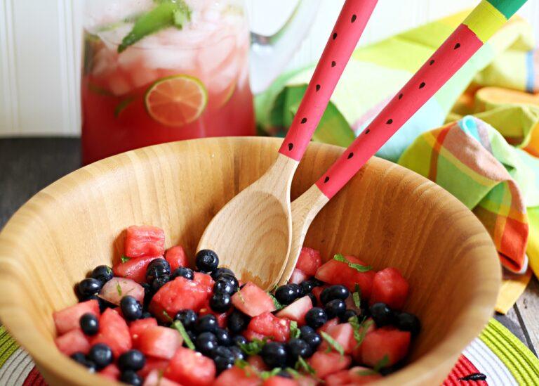 Watermelon Mojito Mocktail & Watermelon Berry Mojito Salad