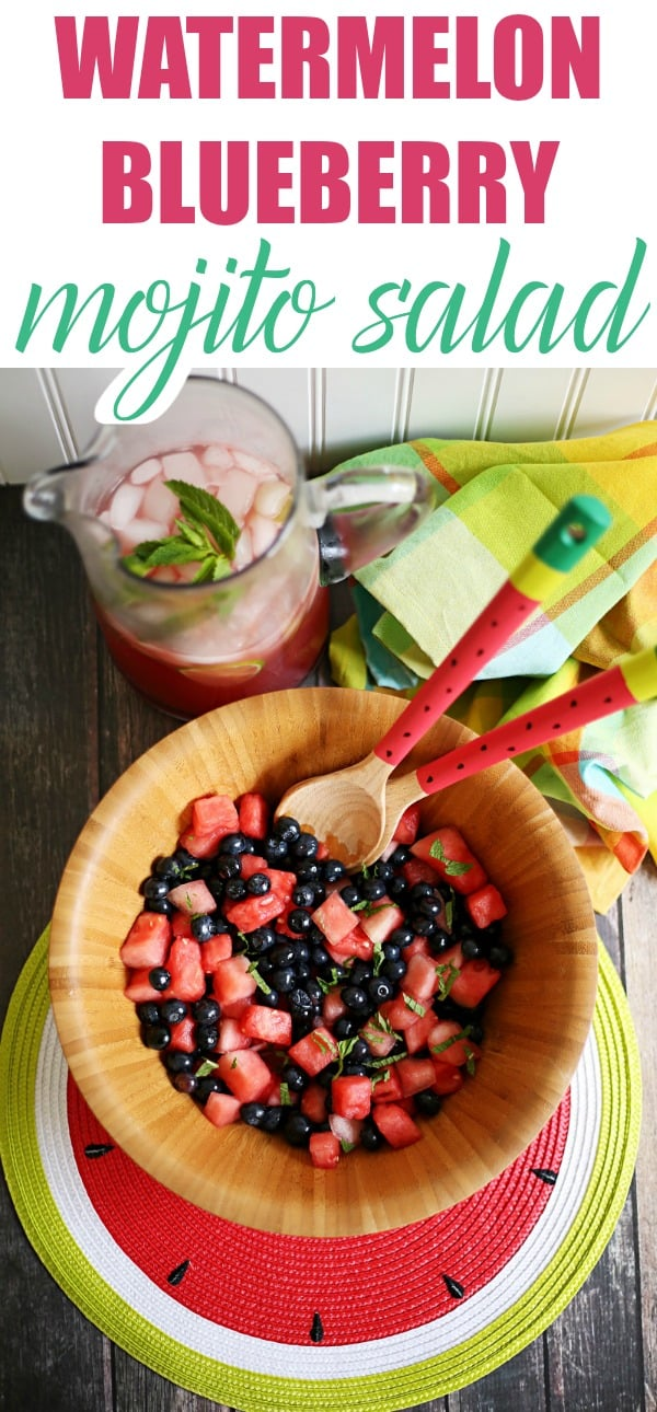 Share a slice of Summer with a refreshing non-alcoholic watermelon mojito mocktail and a watermelon berry mojito salad recipe. Serve with DIY painted watermelon wooden serving spoons (AD) #SummerRefreshment, #Kroger