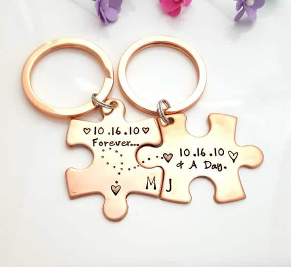 Copper Anniversary Couple Keychain
