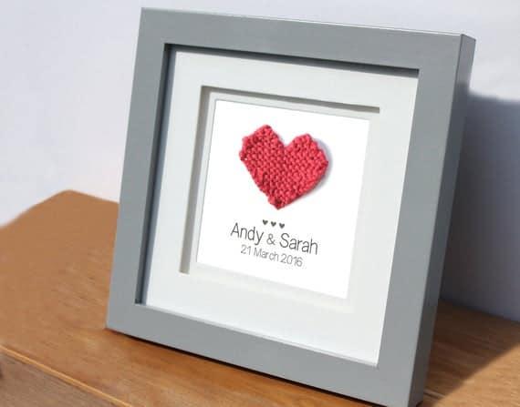 Framed Wool Knitted Heart