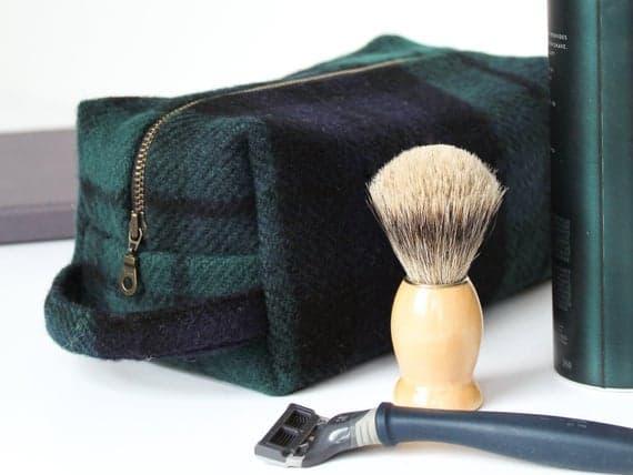 Tartan Plaid Lined Wool Dopp Kit