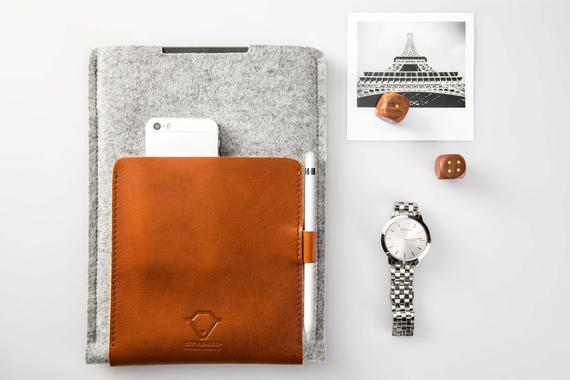 Leather and Wool iPad Case