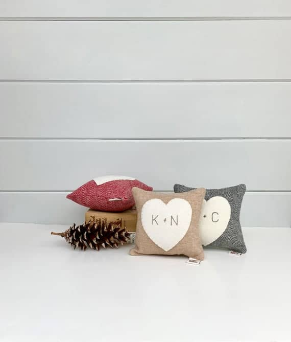 Personalized Wool Heart Pillow