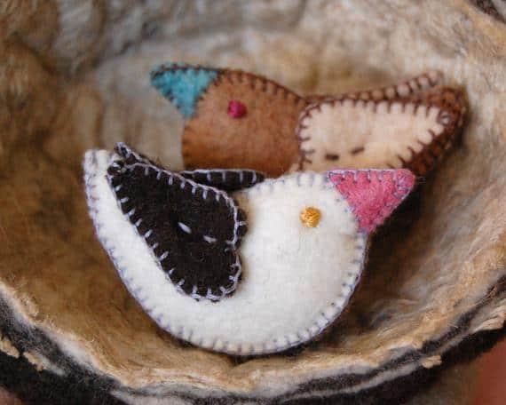 Felted Wool Love Birds