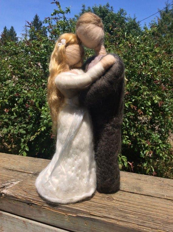 "Needle Felted Wool Bride and Groom, 9"""