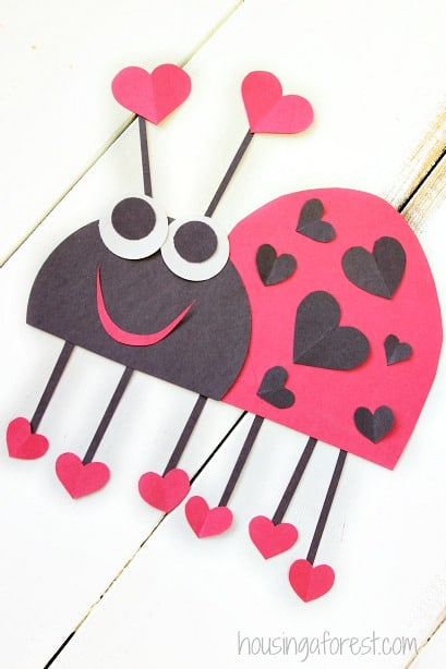 Heart Lady Bug Valentines Craft