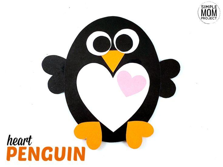Valentine's Day Penguin Paper Craft for Kids
