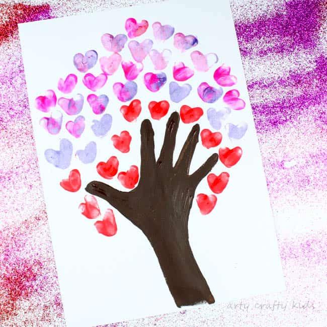 Fingerprint Heart Valentines Day Tree