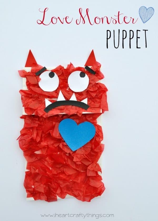 Love Monster Paper Bag Puppet Kids Craft