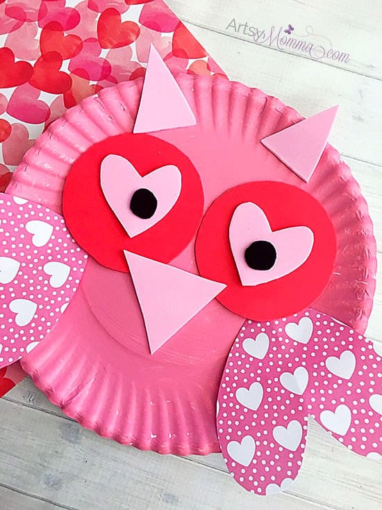 Paper Plate Valentine's Day Owl Craft