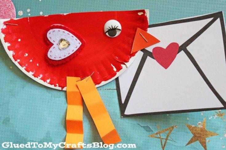 Paper Plate Valentine Love Note Bird Craft For Kids