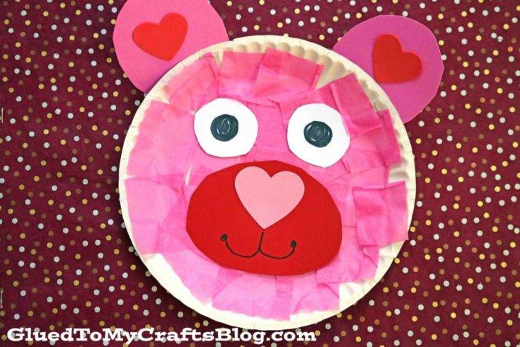 Paper Plate Valentine Bear Kid Craft