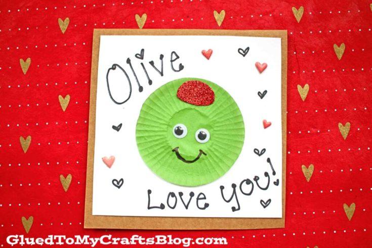 Cupcake Liner Olive You Valentine Craft