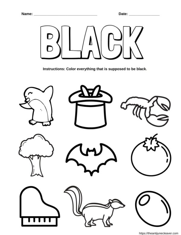 black words coloring page