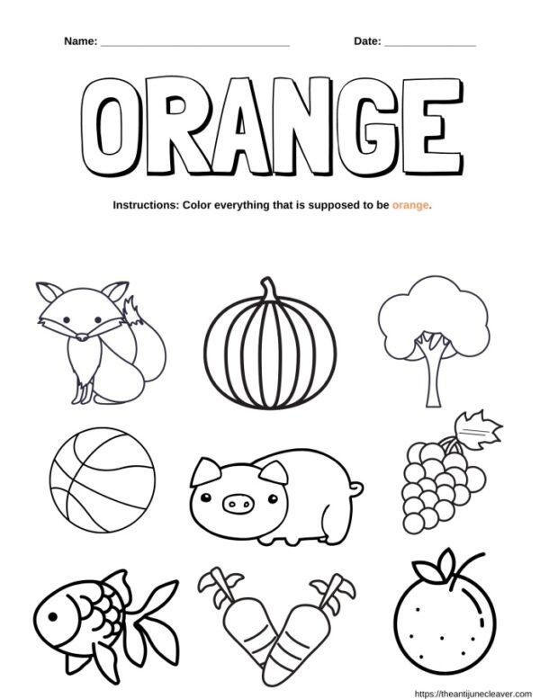 orange words coloring page