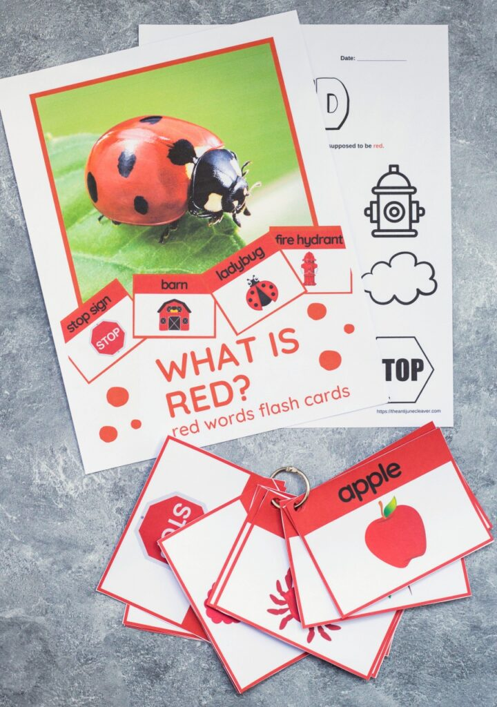 printable color flashcards - red