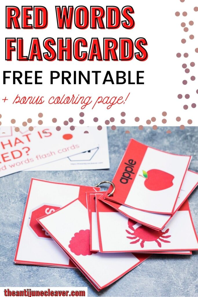 red words flash cards