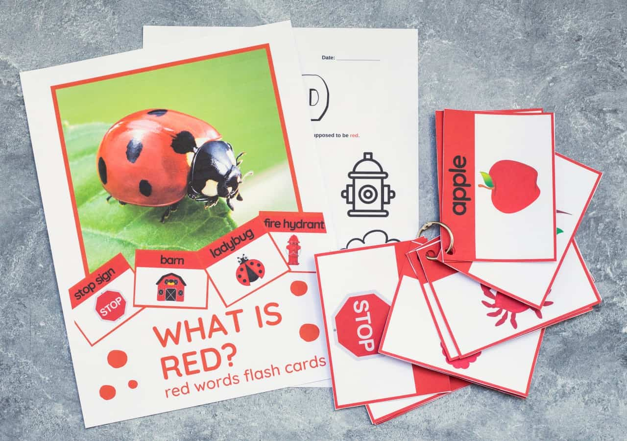 red words flash cards printable