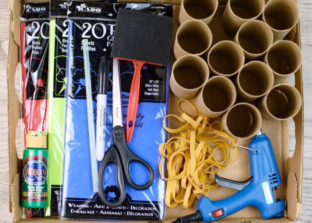 Toilet paper tube advent calendar supplies