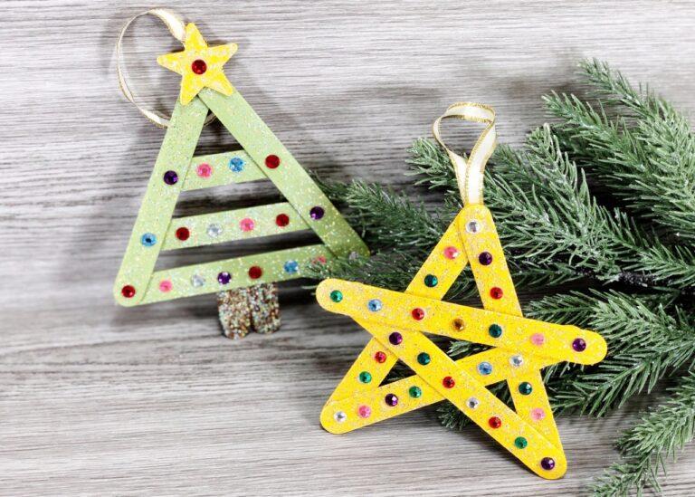 Dollar Store Christmas Craft Stick Ornaments