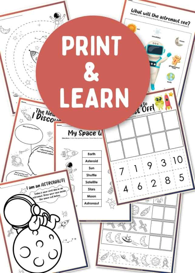 Outer space printable worksheets
