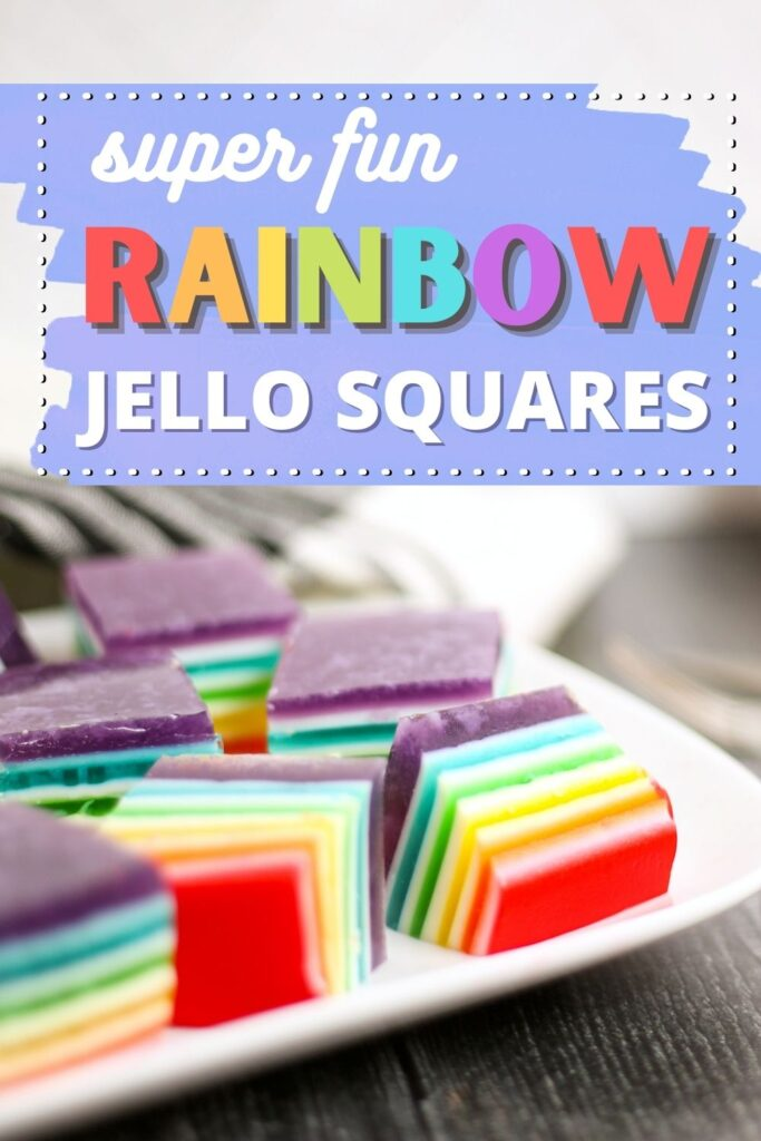 Layered rainbow Jello cubes