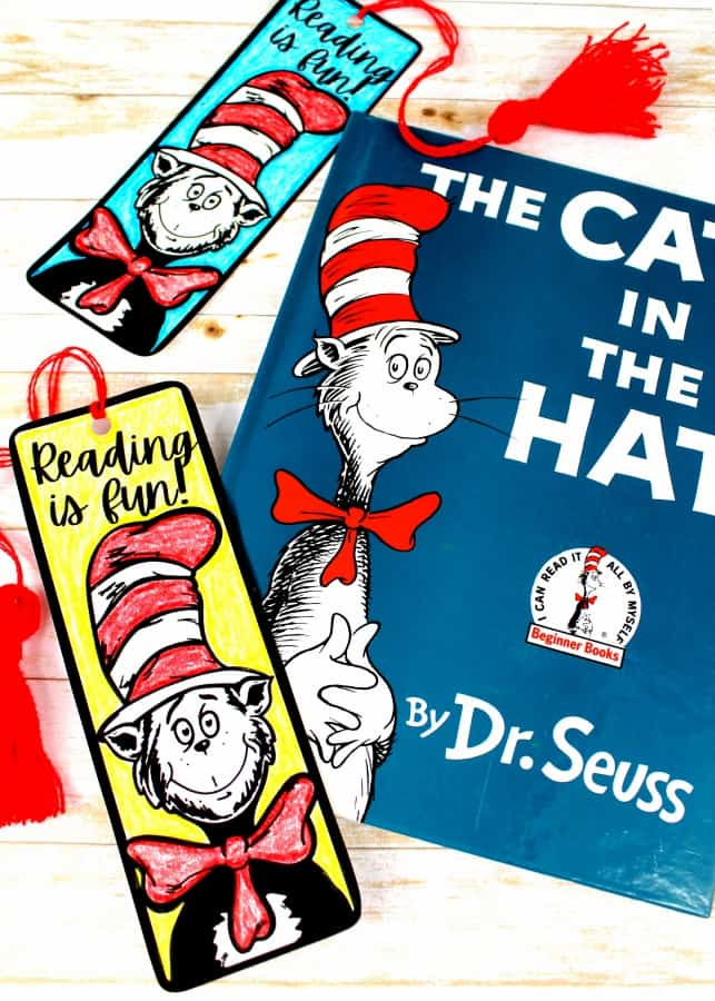 Dr. Seuss Cat in the Hat Bookmark Craft