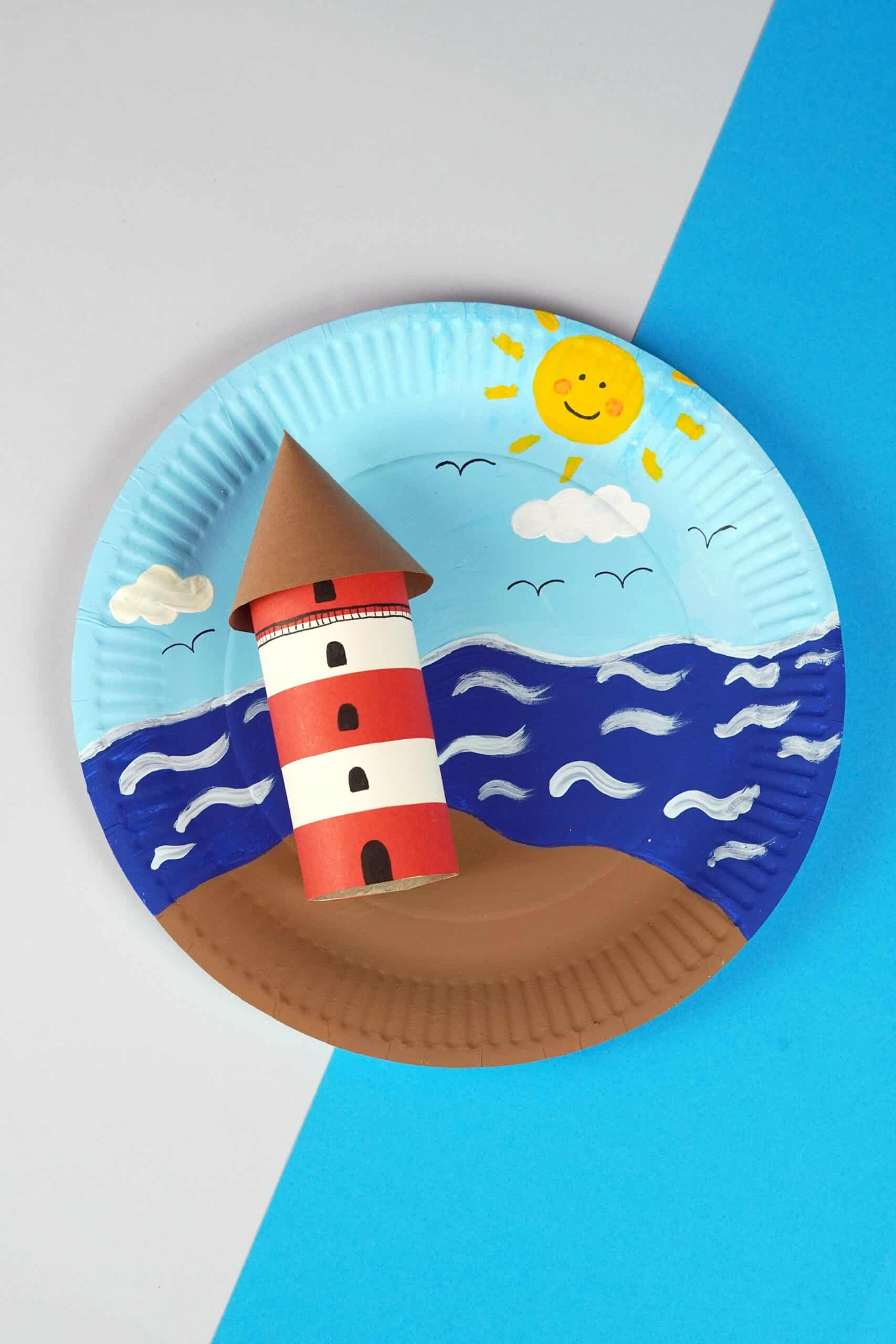 Paper plate lighthouse craft for kids