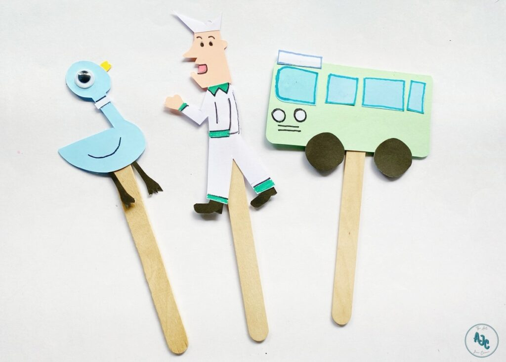 Don't Let the Pigeon Drive the Bus popsicle stick puppets