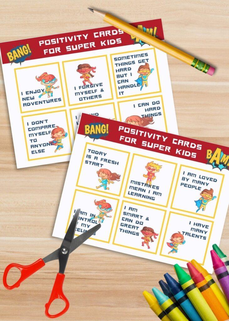 Kids' positive affirmation cards