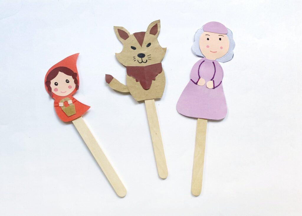 Red Riding Hood, Big Bad Wolf, & Grandma paper crafts