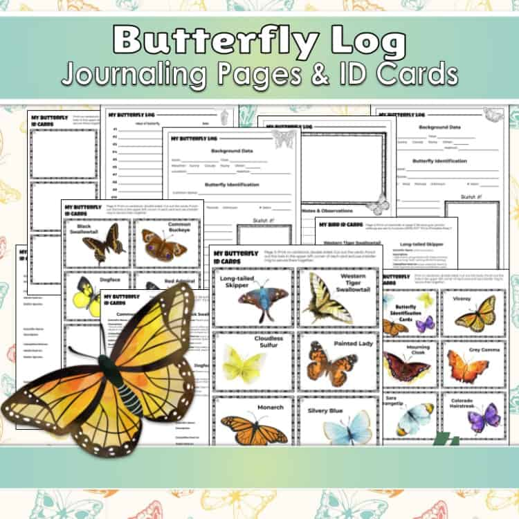Butterfly log journal and ID cards printable